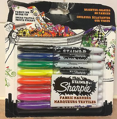 Sharpie Fabric Markers  Brush Nib Assorted Ink With Fine Tip Pack of 8