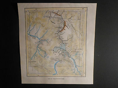 Scarce Hand Colored 1883 Map Yellowstone Park Grand Canyon Lakes Rivers