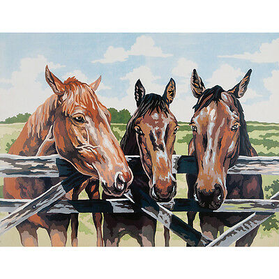 NEW Three Horses Tapestry Canvas- Needlework