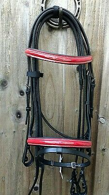 FULL size Black BRIDLE with RED PATENT Leather Trim, NEW.