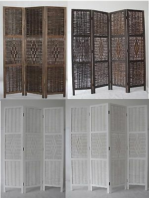 Bamboo and Wood Screen Room Divider, Weave Design with a Diamond Shaped Accent