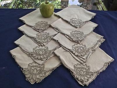 """8 Vintage Taupe Linen 13"""" Lunch Napkins Madeira Hand Embroidered Water Lily"""