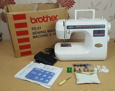 Brother Sewing Machine PS-31 & Accessories In Box with Instructions Fully Tested