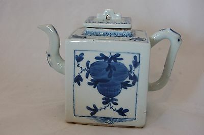 Handpainted Chinese Blue & White Teapot With A Kangxi Style Mark; 19Th Or 20Th C