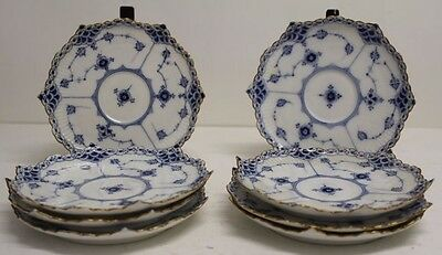 "Lot of 8 Rare Royal Copenhagen BLUE FLUTED FULL LACE 5 3/4"" Tea Plates #1130"