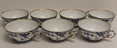 Lot of 7 Rare Royal Copenhagen BLUE FLUTED HALF LACE w/ Gold Rim Teacups #1130