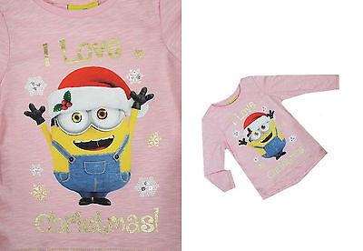 New Baby Girls I love Christmas Top Minions Long Sleeved T Shirt 3 Mths-3 Years