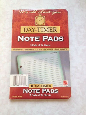 """Day-Timer Lined Note Pads Pages Loose-Leaf Desk Size 5.5"""" x 8.5"""" 2 Pack 24pg ea"""