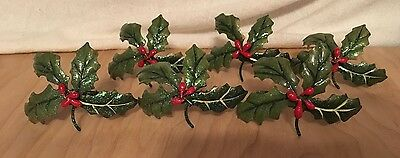 Vintage Metal Holly Berry Napkin Rings Holders Lot of 6 Christmas Holiday