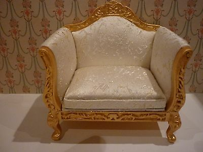 Dolls House Emporium Gold And Cream Bergere Armchair,12Th Scale, New