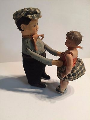 Antique German Schuco Wind-Up Toy Rare Father And Doughter