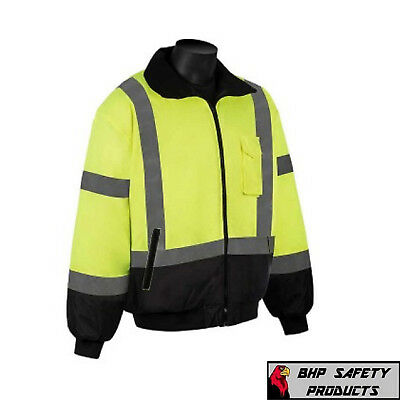 Hi-Vis Insulated Safety Bomber Reflective Jacket Road Work Waterproof (Lgs)