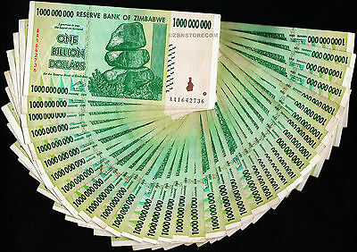 35 x 1 Billion Zimbabwe Dollars Bank Notes AA 2008 Bundle [35PCS] Currency Lot