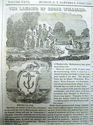 1851 newspaper w engraving & descript FOUNDING of RHODE ISLAND by ROGER WILLIAMS