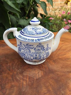 """ANTIQUE Small TEAPOT Made in JAPAN White with Blue Asian scenes 4"""" tall China"""
