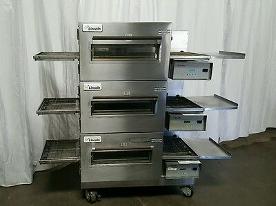 LINCOLN Impinger 1132 Three Electric Conveyor Pizza Ovens     TRIPLE STACK