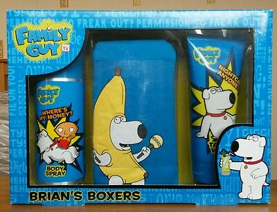 NEW - Family Guy - Boxers, Spray & Tackle Wash Gift Set - Brian Griffin - Fun