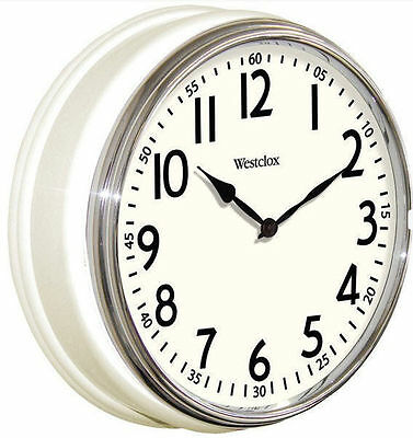 "Westclox 12"" White Vintage Kitchen Wall Clock Quartz Analog Ships from US Seller"