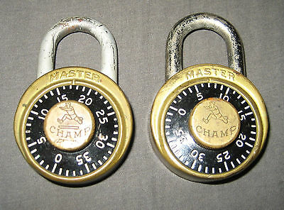 2 Vintage Antique Brass Master Champ Combination Locks with Combo -Milwaukee Wis