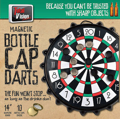 Fun Safe Magnetic Cap Bottle Cap Darts with 10 bottle caps with 14 inch board