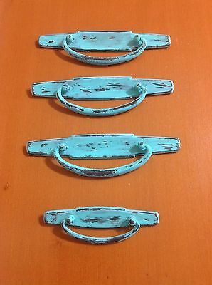 117 VTG Large Midcentury  Style Swing Pulls In Turquoise Wash Set Of 4, 2 Sizes