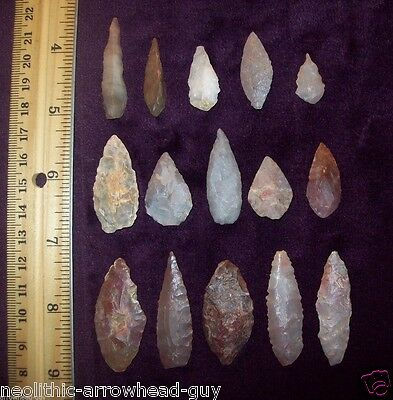 Choice Neolithic Arrowheads / Group of 15 (blade)        # 142