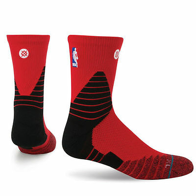 Stance NBA Official On-Court Solid Quarter Socks - Red  Size Large 8-13
