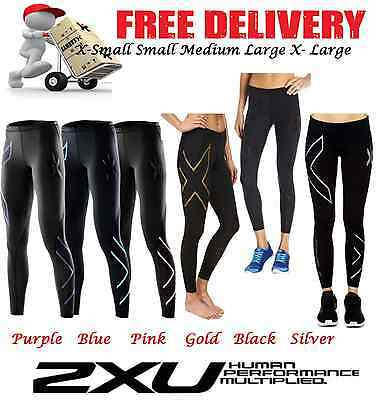 2XU WOMENS COMPRESSION PANTS long skins fitness gym tights black silver blue
