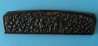 H Hooijkaas Antique Silver Heavy Repousee Dutch Comb Cover