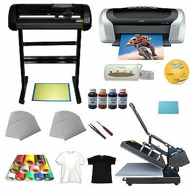 Heat press&Vinyl Cutter&Printer&Ink &Paper T-shirt Transfer Start-up Kit