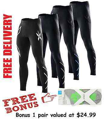 2XU MENS COMPRESSION PANTS long skins fitness gym tights running sports wear