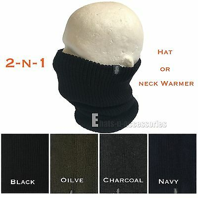 2-N-1 Double Ply Knit Ski Snood Hat Scarf Face Mask Gaiter Neck Warmer Beanie