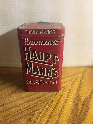 Vintage Hauptmanns Cigar Tin Red With Tax Sticker  Free Shipping!! LQQK!!!