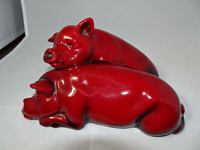 """Royal Doulton Flambe Two Pigs Large Rare 7"""" X 5"""" x 4"""" Tall Very Nice!"""