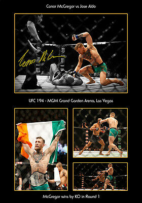 Conor Mcgregor Signed Print Poster Photo Ufc 194 Aldo Montage Knockout