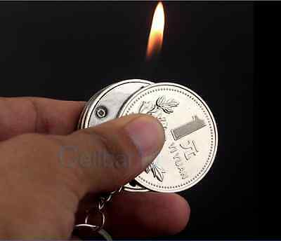 Metal Portable Coin Shape Butane Gas Cigarette Lighter With Keychain