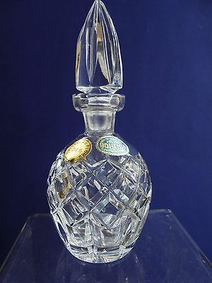 Vintage Bohemia Czech Hand Cut Crystal Perfume Bottle With Labels