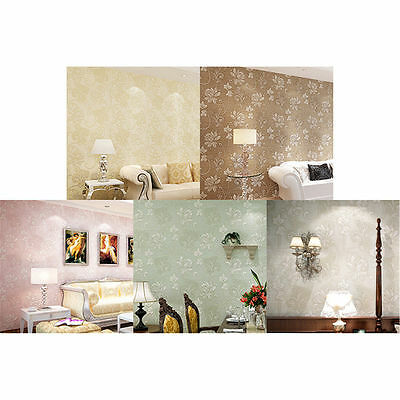10m 3D Floral Embossed Textured Non-woven Wallpaper Rolls Wall Paper Background