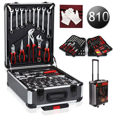 710pcs Tool Set Case Mechanics Kit Box Organize Castors Toolbox Trolley New