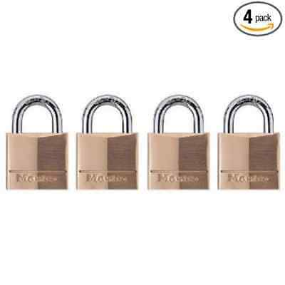 Master Lock 120Q Keyed-Alike Wide Padlocks, 3/4-inch, Solid Brass, 4-Pack