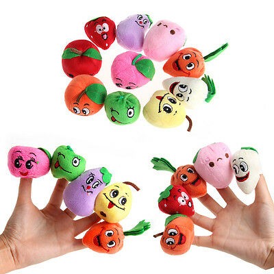 10Pcs Family Fruits&Vegetable Finger Puppets Cloth Doll Baby Educational Toys