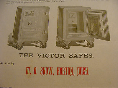 circa1893 advertising: THE VICTOR FIRE-PROOF SAFES, M. O. Snow, Horton, Mich.