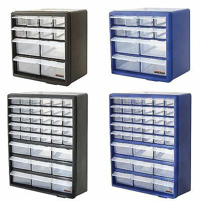 Black/Blue 12 and 39 Compartments Home DIY Garage Tools Drawer Storage Organiser