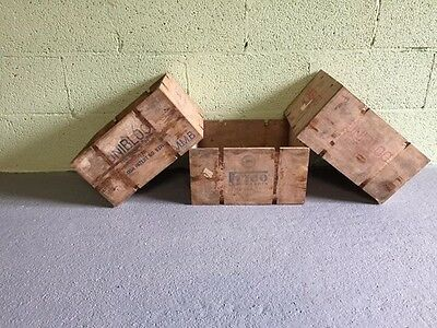 2 Old Vintage Wooden Cheese Crates  (storage box wine rustic shabby chic display
