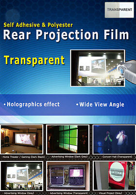"""Transparent, Holographic Rear Projection Film: 50""""(16:9 Ratio- 1107 x 623mm)"""