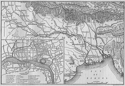 KOLKATA. Map of Calcutta and the Ganges 1882 old antique plan chart