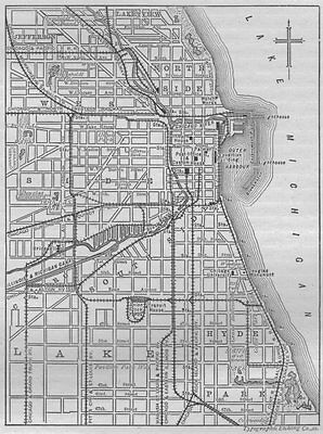 CHICAGO. Plan of Chicago 1882 old antique vintage map chart