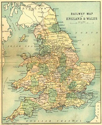 ENGLAND WALES. RAIL MAP. Philip 1898 old antique vintage plan chart