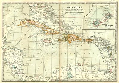WEST INDIES. Shows voyages of Columbus & 1782 1779 1800 1809 Battles 1903 map