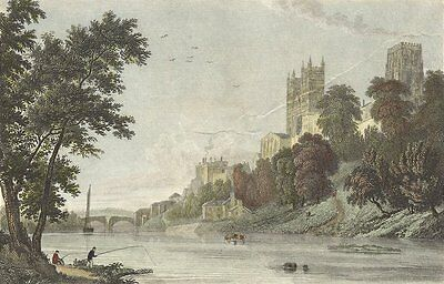 DURHAM. Westall Cathedral River c1833 old antique vintage print picture